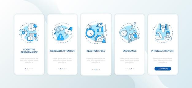 Bebidas energéticas efectos nocivos incorporación de la pantalla de la página de la aplicación móvil con conceptos