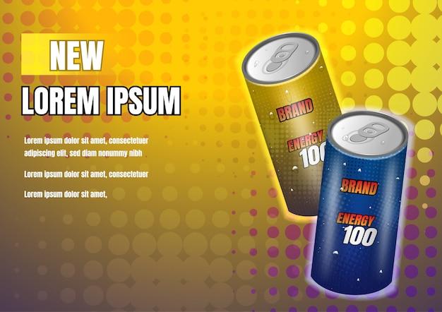 Bebidas energéticas de oro y azul oscuro sobre fondo amarillo