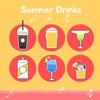 Bebidas frescas y deliciosas de verano en dibujo vectorial
