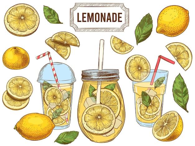 Bebidas frías de verano, rodajas y hojas de limones amarillos dibujados a mano. vaso de limonada con hielo conjunto de ilustraciones.