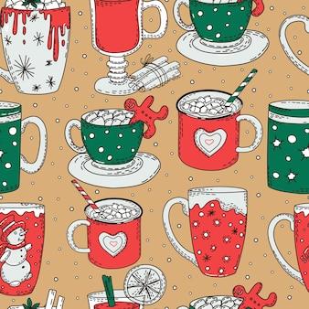 Bebidas de invierno de patrones sin fisuras fondo colorido navidad y año nuevo