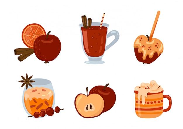 Con bebidas de temporada de otoño e invierno, postres y repostería. vino caliente, chocolate caliente, manzana en caramelo, especias. conjunto de imágenes prediseñadas.