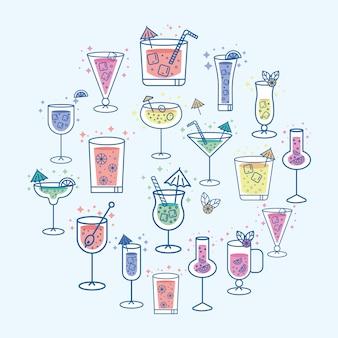 Bebidas tropicales en círculo.