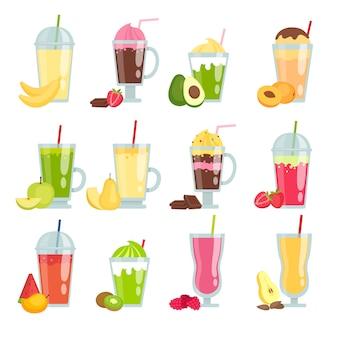 Bebidas de verano batido. varios jugos de frutas y batidos