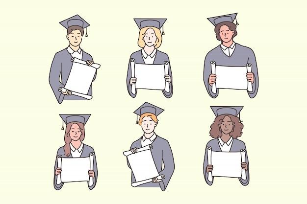 Becas, graduación, diploma, concepto de conjunto multicultural