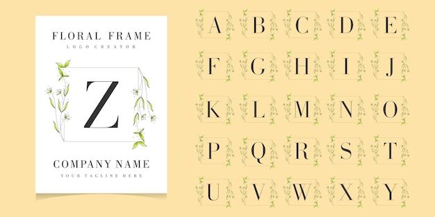 Bedge inicial premium con plantilla de fondo de marco floral