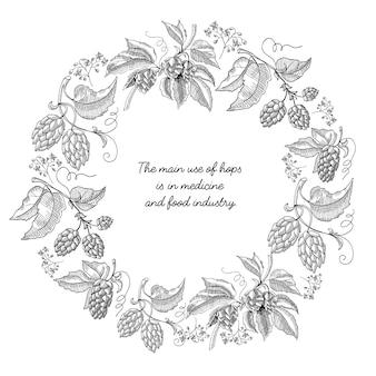 Beer hop round frame sketch composición mano dibujada braches con hojas y flores en blanco y negro