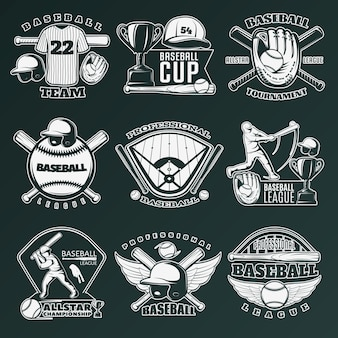 Béisbol emblemas monocromáticos de equipos y competiciones con equipamiento deportivo.