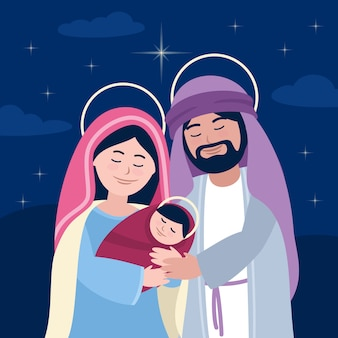 Belén con padre e hijo