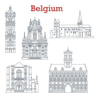 Bélgica monumentos arquitectónicos y edificios de mons, binche y brujas