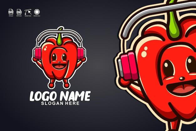 Bell pepper music diseño de logotipo de personaje de mascota linda