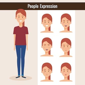 Bella dama con diseño de ilustración de vector de expresión conjunto