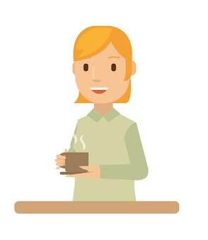 Una bella esposa hace el café por la mañana