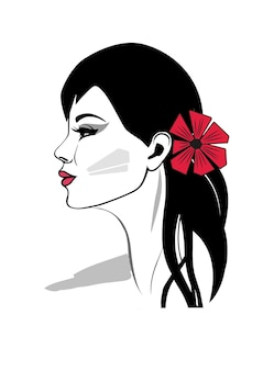 Bella mujer con flor roja en el retrato de perfil de una elegante dama con cabello negro