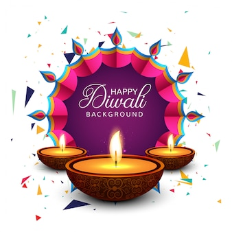 Bella tarjeta de felicitación para el festival feliz diwali fondo vector