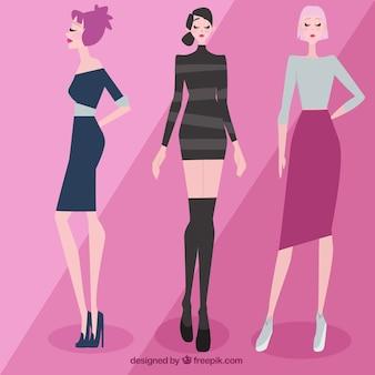 Bellas modelos con ropa elegante