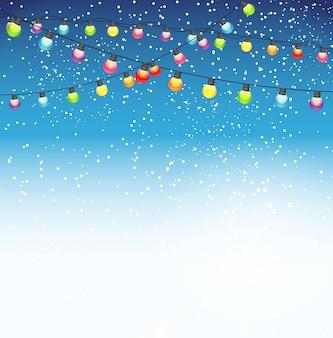 Belleza abstracta fondo de navidad y año nuevo con luces de bombilla garland y nieve que cae. ilustración de vector. eps10