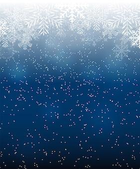 Belleza abstracta fondo de navidad y año nuevo con nieve, copos de nieve. ilustración vectorial