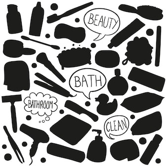Belleza baño silueta vector de imágenes prediseñadas