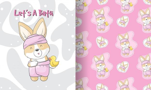 Belleza cachorro bebé ducha de patrones sin fisuras ilustración para niños