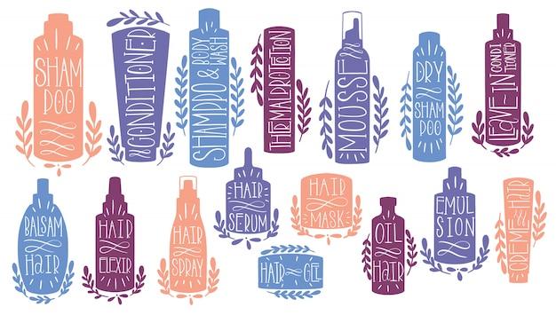 Belleza cuidado del cabello set mano dibujar. forma de texto cosmético
