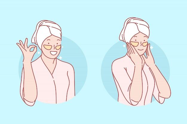 Belleza, cuidado de la piel, parches para ojos conjunto ilustración