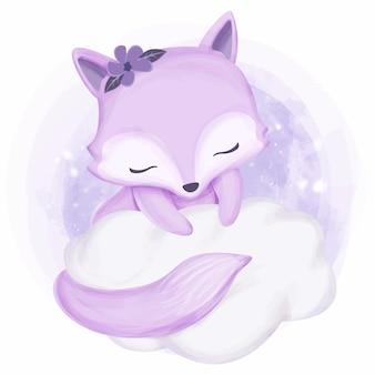 Belleza dulce foxy en nube