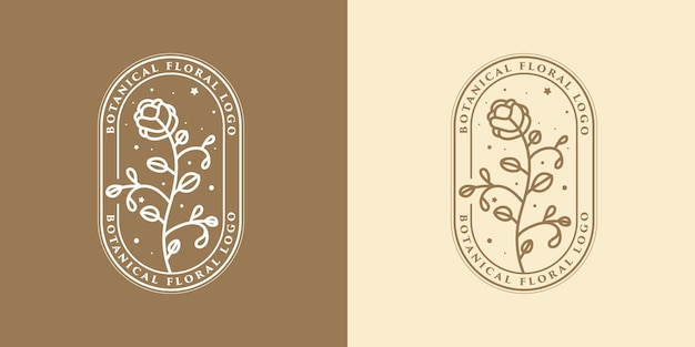 Belleza femenina dibujada a mano y logo botánico floral.