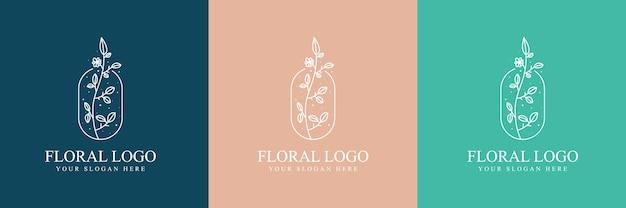 Belleza femenina dibujada a mano y logotipo botánico floral para el cuidado de la piel y el cabello del salón de spa