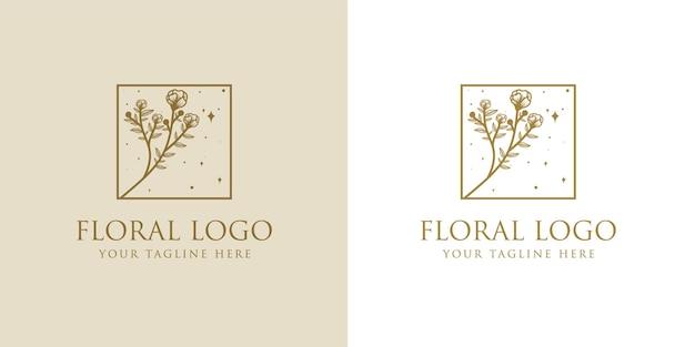 Belleza femenina dibujada a mano y marco de logotipo botánico floral para el cuidado del cabello de la piel del salón de spa