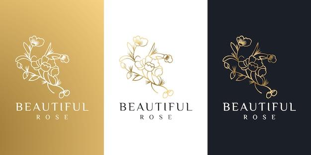 Belleza femenina dorada dibujada a mano y logo botánico floral.