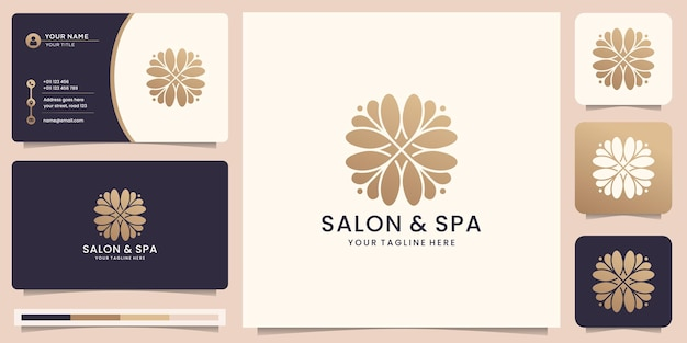 Belleza femenina logotipo abstracto salón y spa silueta forma concepto logotipo y plantilla de tarjeta de visita