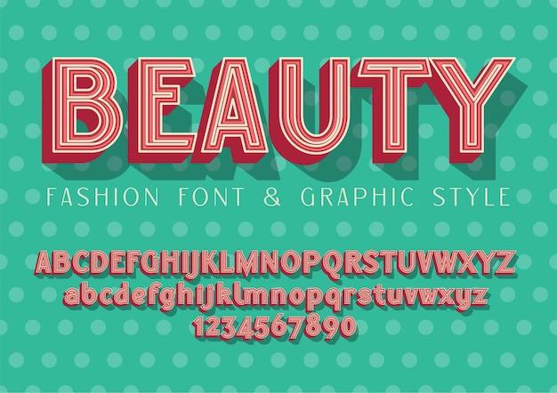Belleza - fuente de moda y boda, ilustración de letras con estilo gráfico en puntos básicos