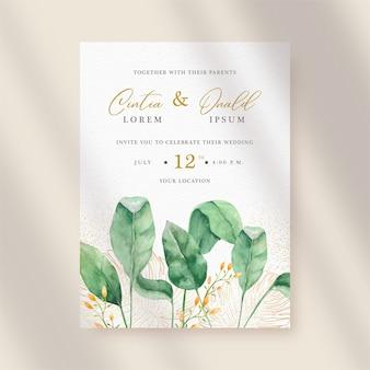 Belleza de hojas de acuarela en plantilla de invitación de boda individual