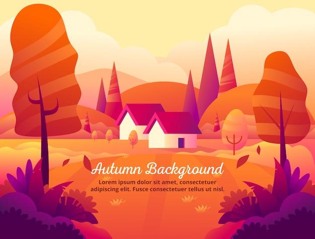 La belleza de la ilustración de vector de fondo naranja otoño