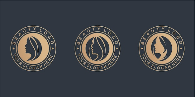 Belleza logo diseño colección vintage
