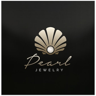 Belleza lujo elegante joyas de perlas concha de ostra concha de ostra concha de ostra berberecho almeja mejillón logo