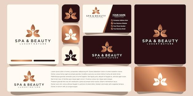 Belleza de lujo de flor elegante minimalista, moda, cuidado de la piel, cosmética con tarjeta de visita.