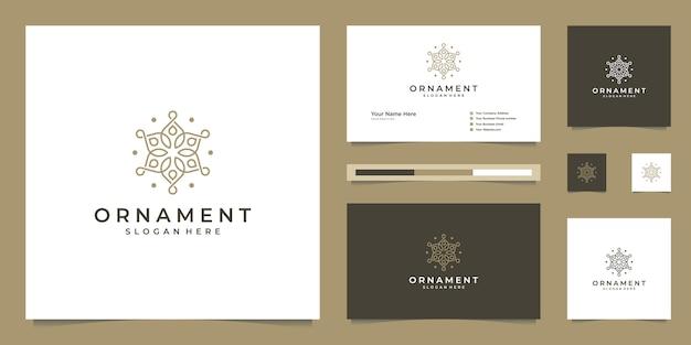 La belleza de lujo florece el diseño del logotipo del monograma del ornamento y la tarjeta de visita.