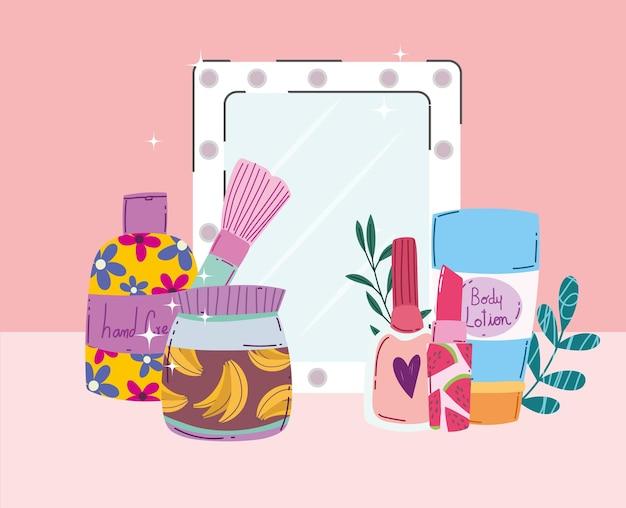 Belleza maquillaje espejo cuidado de la piel cremas esmalte de uñas y lápiz labial ilustración vectorial