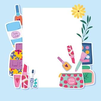 Belleza maquillaje pincel rimel lápiz labial loción y crema corporal banner vector ilustración