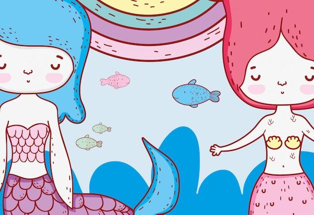 Belleza mermeinds mujeres bajo el agua con peces y arcoiris.