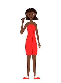 Belleza mujer africana aplica maquillaje a la cara. estilo de dibujos animados