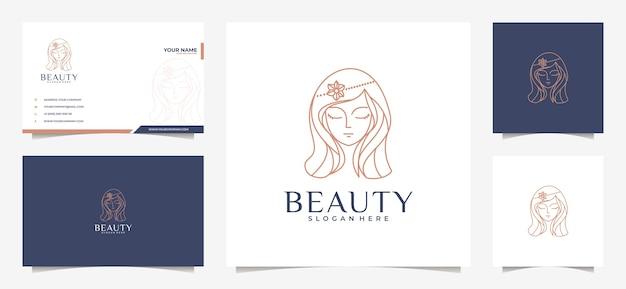 Belleza mujer cabello logo y tarjeta de visita