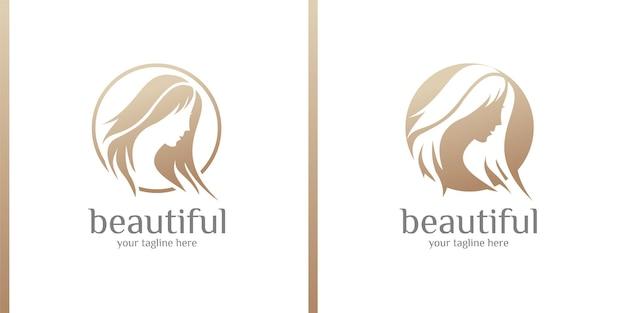 Belleza de las mujeres cuidado de la belleza cara de las mujeres color dorado elegancia banner diseño de logotipo