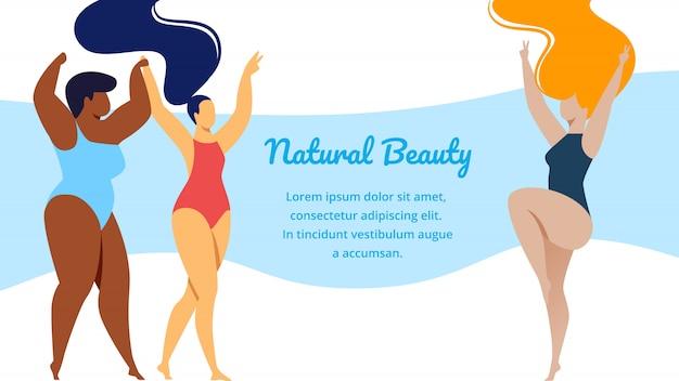 Belleza natural multirracial mujeres cuerpo positivo