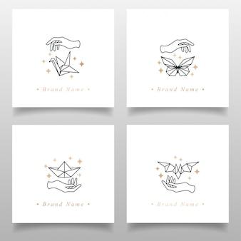 Belleza ocupada logotipo origami papel plantilla editable diseño simple