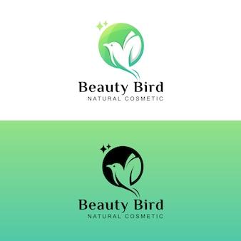 Belleza pájaro mosca cosmética natural logo diseño dos versiones