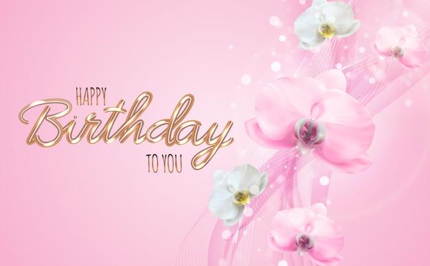 Belleza realista 3d fondo de flor de orquídea rosa. feliz cumpleaños