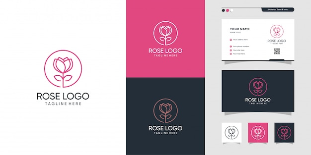 Belleza rosa flor logo y diseño de tarjeta de visita. belleza, moda, salón, tarjeta de presentación, ícono, idea, premium